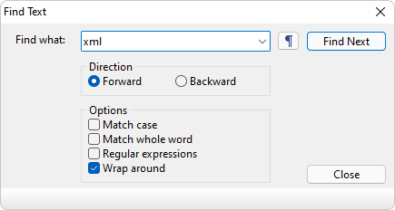 Searching and replacing text