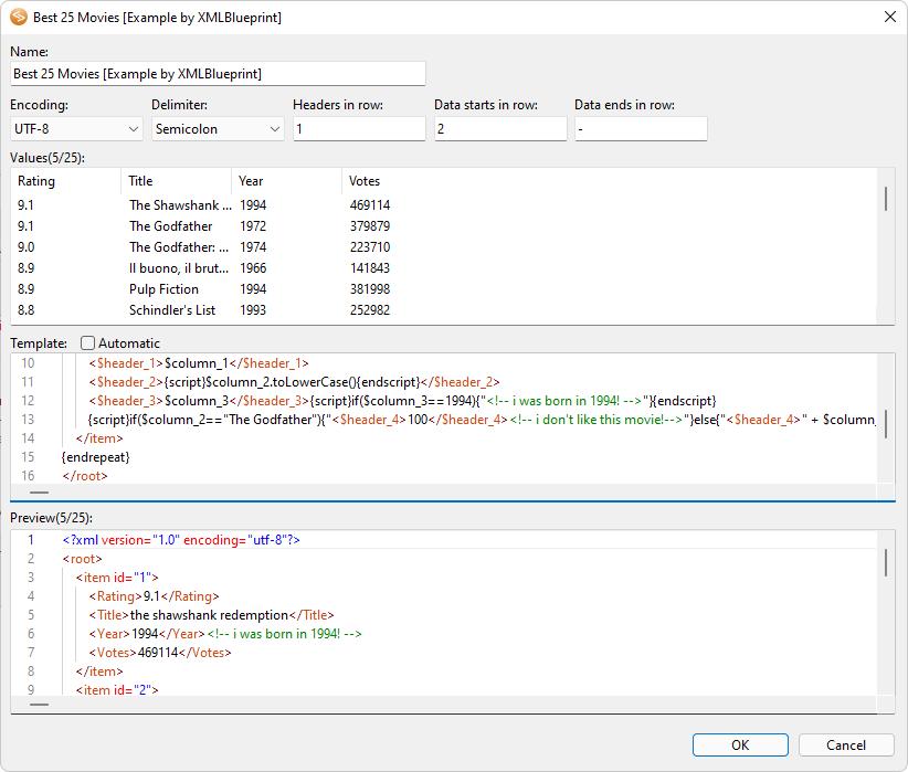 CSV to XML - XMLBlueprint