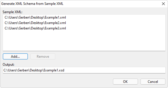 generate xml schema from sample xml